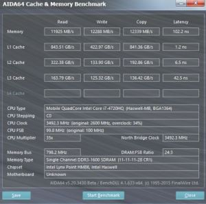 Asus GL552JX cache and memory test